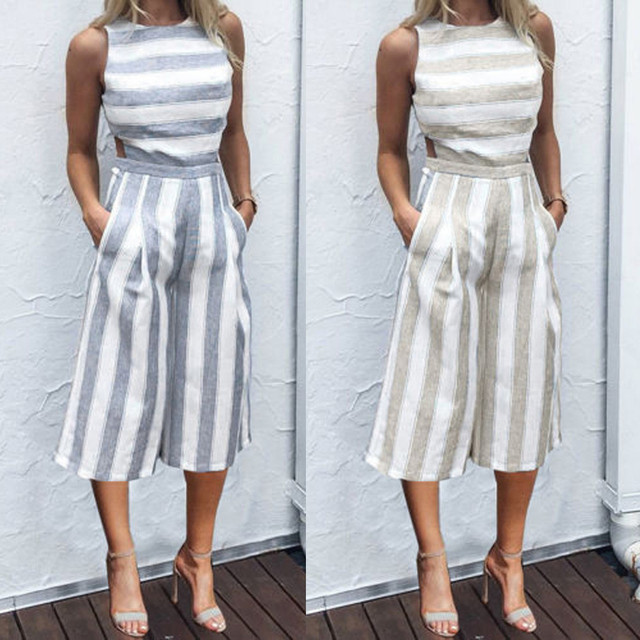 d7cfce922bec Jumpsuits For Women 2017 Women Sleeveless Striped Jumpsuit Casual Clubwear  Wide Leg Pants Outfit 20