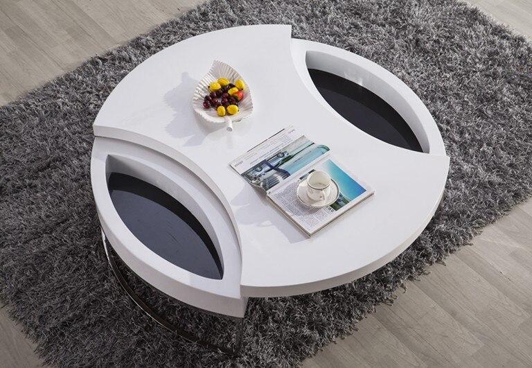Table basse/Table à Thé, Design moderne, MDF + Spéculaire Peinture support en acier Inoxydable, peut Tourner avec de stockage Table ronde 4G-068 # - 4