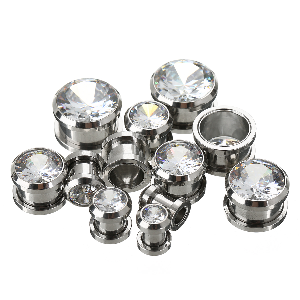 1 Pair 6-16mm Crystal Ear Tunnels Plug Shellhard Vintage Stainless Steel Screw Fix Flesh Tunnels CZ Ear Expanders Body Jewelry
