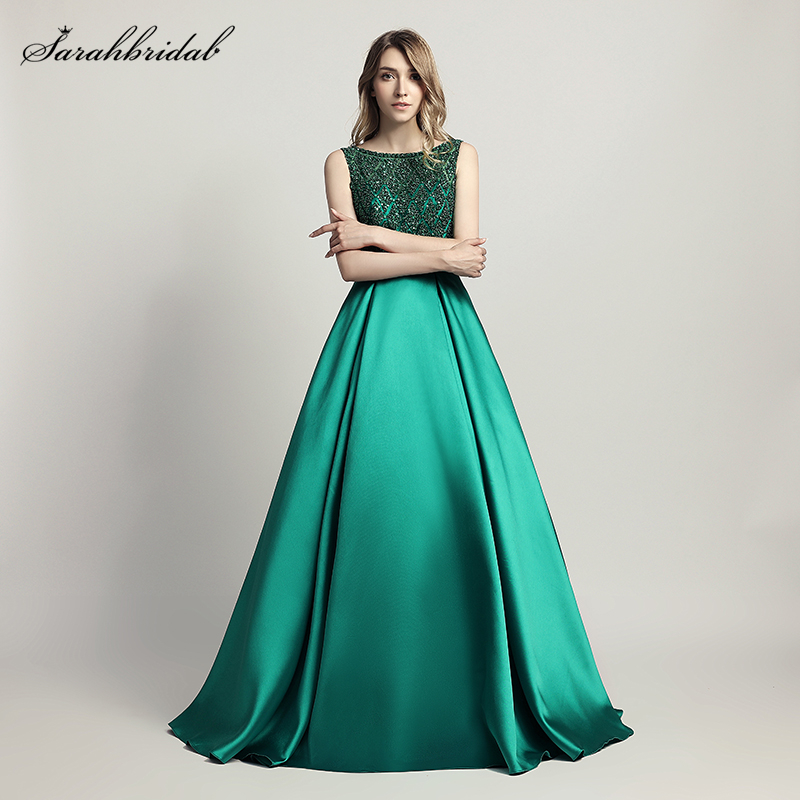 Real Photos New Styles Elegant Long Evening Dresses A Line Crystal Luxury Party Gowns Formal Robe