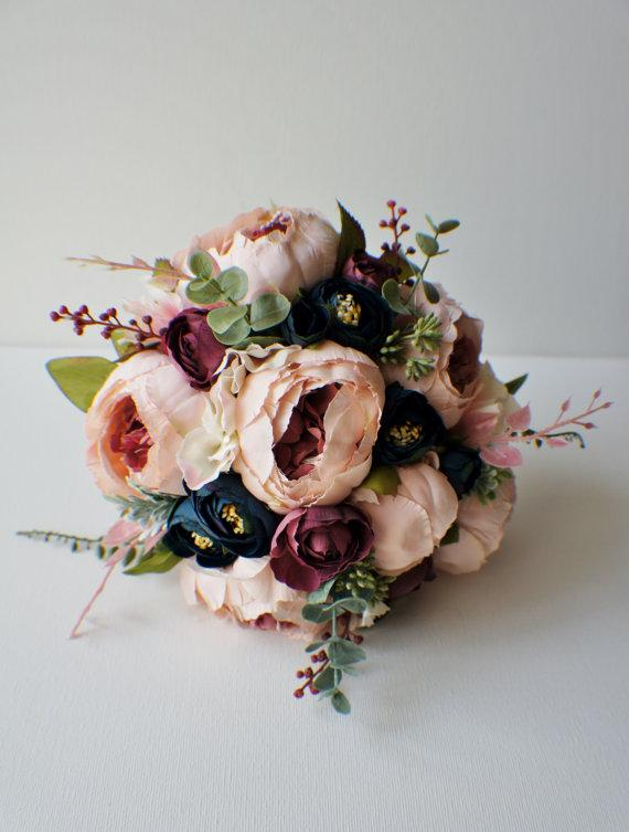 Купить с кэшбэком Peony Bridal Bouquet, Silk Blush Vintage Wedding flowers Rustic  Chic Wedding bouquet Bride Bridesmai