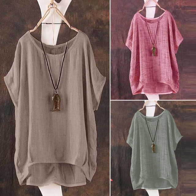 Plus Size S-5L linen bat short-sleeved women's casual loose top thin section shirt Tee shirt pullover Ropa de mujer 1