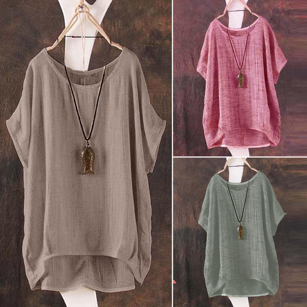 Plus Size S-5L Linen Bat Short-sleeved Women's Casual Loose Top Thin Section Shirt Tee Shirt Pullover Ropa De Mujer