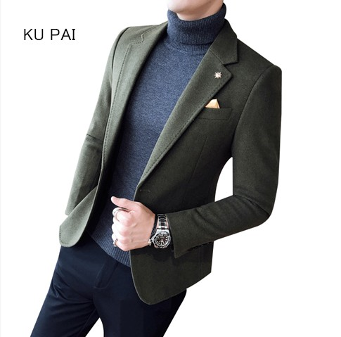 Маленький костюм мужской осень и зима новый корейский Тонкий Повседневный Комплект для мужчин британский красивый волос шерстяная куртка