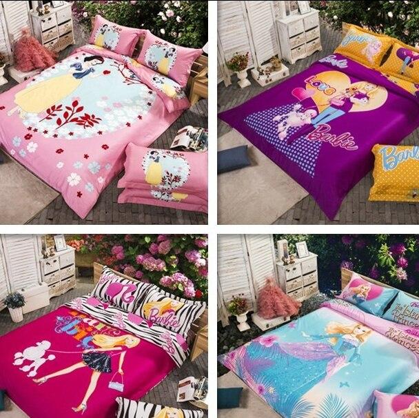 Barbie cartoon Girls comforter Cover full bedding Girl kids cartoon bedding  set oil printing fitted sheets