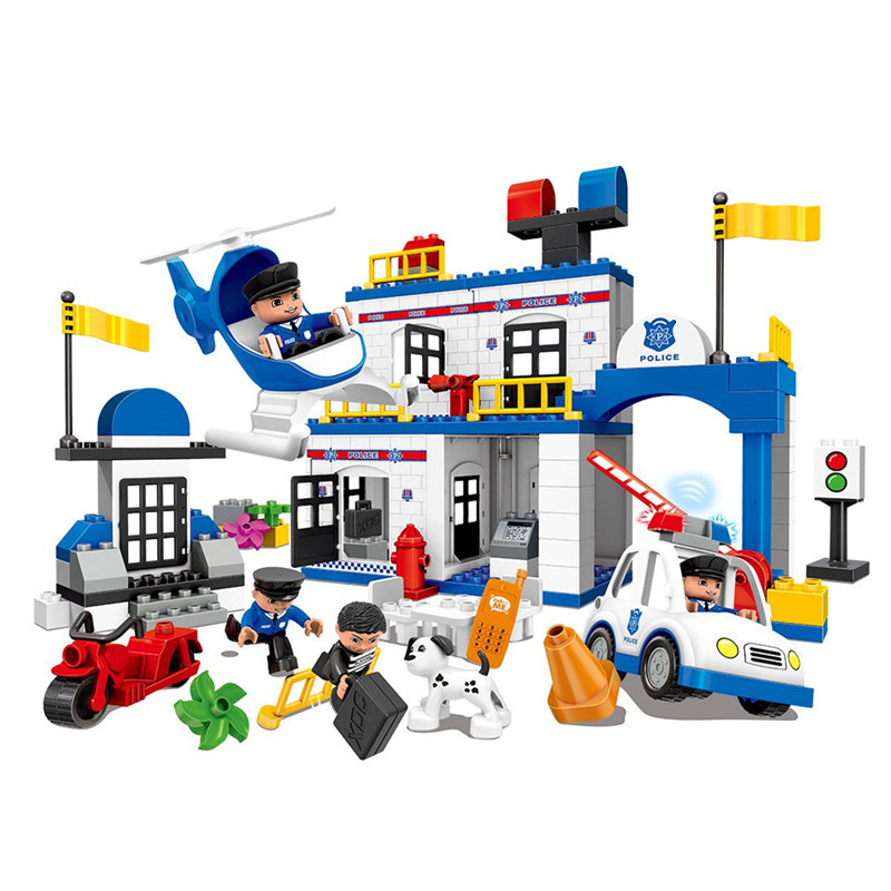 Large City Police Station Policeman Figures Helicopter Car Set Big Size Building Blocks Educational Toys For Kids city series police car motorcycle building blocks policeman models toys for children boy gifts compatible with legoeinglys 26014
