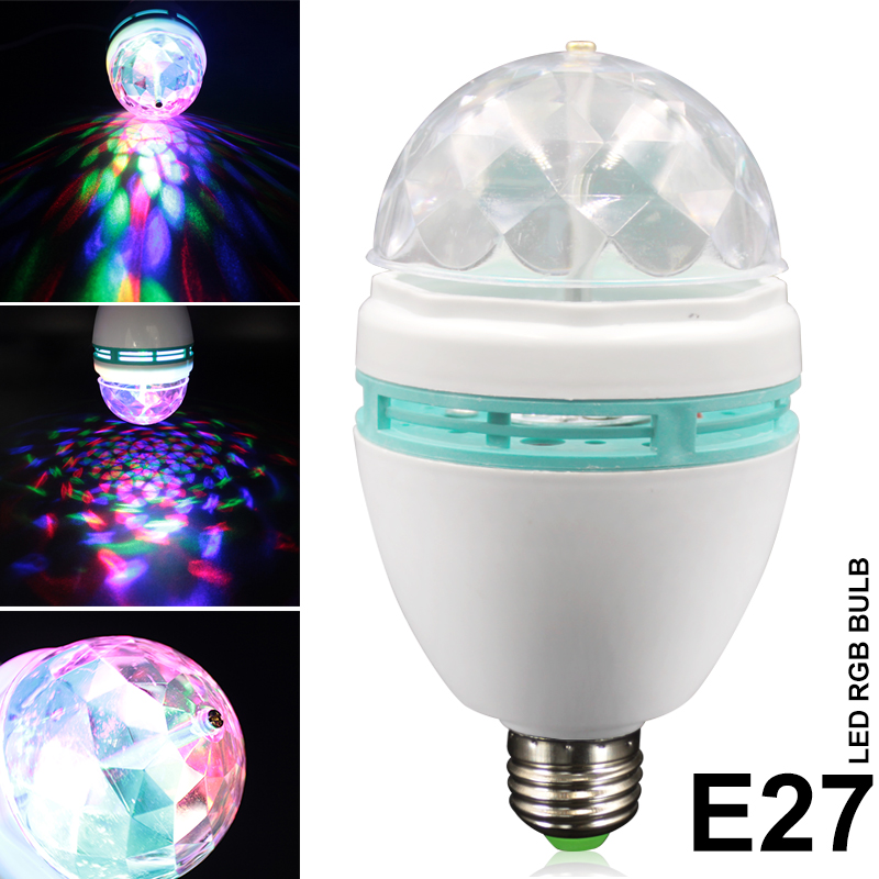 1Pcs Full Color 3W RGB E27 LED Crystal Stage light Auto Rotating lamp AC85 - 265V Laser Disco DJ Party Holiday led rgb bulb lamp e27 3w 16 colors auto rotating led stage light ac85 260v rgb christmas ktv party disco bulb laser projector