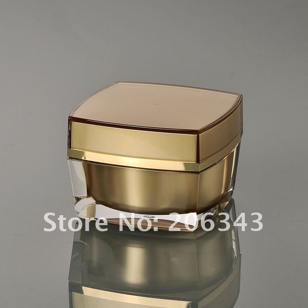 15G zlatý akrylový čtvercový tvar krém jar, kosmetické nádoby