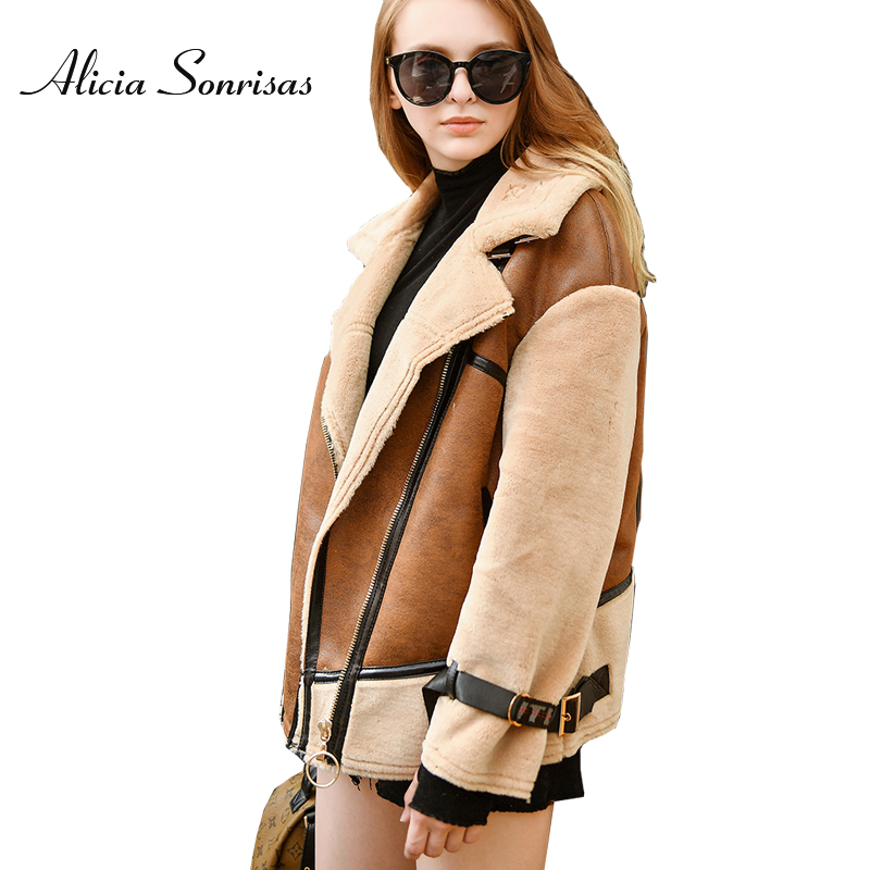 Thick Faux Lamb Sheepskin For Coat For Women New 2018 Winter Coffee Suede Warm Jackets Long