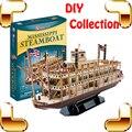 Chegada nova Presente Modelo 3D Puzzle Big Antiga Coleção de Barco Barco A Vapor Mississippi Tampo Da Mesa Decoração Crianças Brinquedos Educativos IQ
