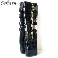 Sorbern Woman Boots 18CM Super High Heel Ballet Boots Wedge Hoof Heelless Sexy Fetish Slave Lockable Knee High Boots For Woman