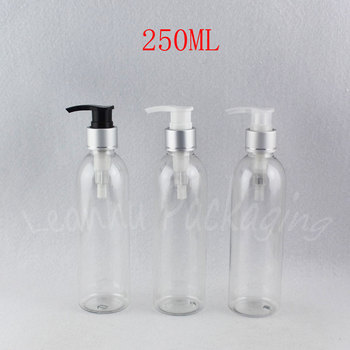 250ML Transparent Round Shoulder Plastic Bottle , 250CC Shower Gel / Lotion Sub-bottling , Empty Cosmetic Container