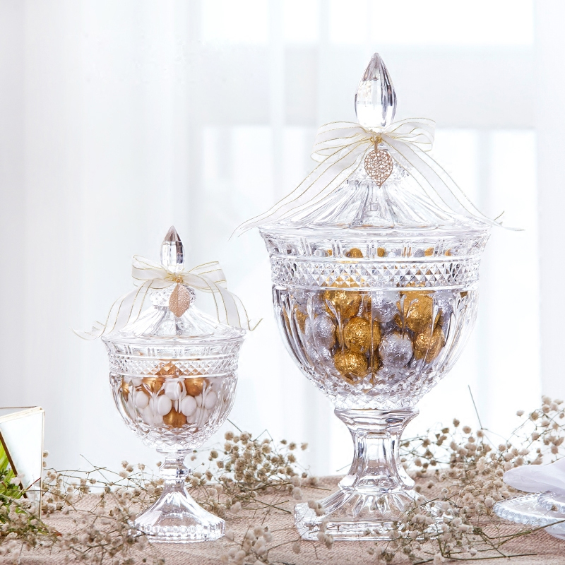 Europe high feet glass candy jar Food Storage tank Hotel wedding dessert dining table shopwindow decorate