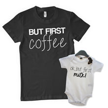But First Coffee OK Milk Baby Grow T Shirt Matching Present Funny Joke Tops Tee New Unisex free shipping
