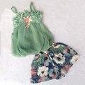 Niñas conjunto ropa de verano correas slip dress cotton shorts 2 unids set muchacha del niño conjuntos ropa infantil para niñas