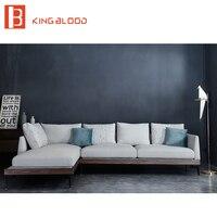 L формы современного деревянные конструкции Современные Льняной ткани диван