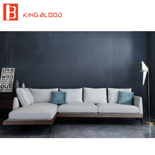 L shape modern wooden designs modern linen fabric sofa