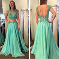 Verde menta de baile vestidos de fiesta largos 2017 cristales rebordear gasa dress para la graduación a-line largo desfile de vestidos vestido de festa