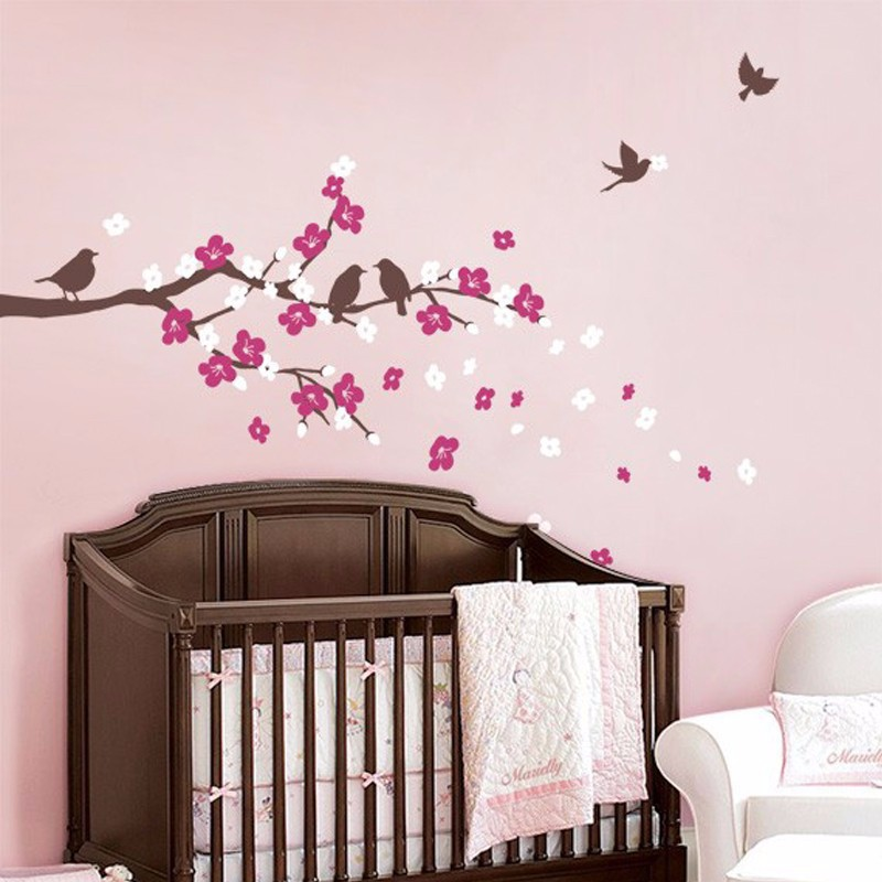 New Cherry Blossom Branch with Birds - Kids Vinyl Wall Sticker Decal - Home Decor - Photo 2