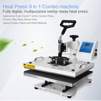 Multifunctional printing Combo 9 In 1 heat transfer machine for cup phone case Tshirt shoes Plate sublimation transfer machine