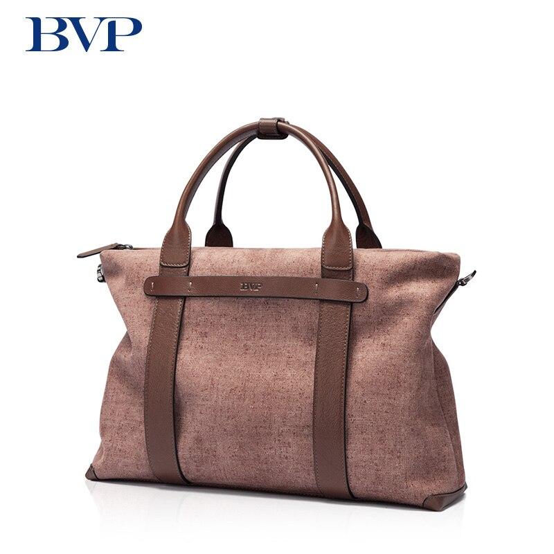 BVP nuevo zurriago de moda masculina cartera comercial cuero real hombres de negocios Messenger Bag Brown casual viaje J50