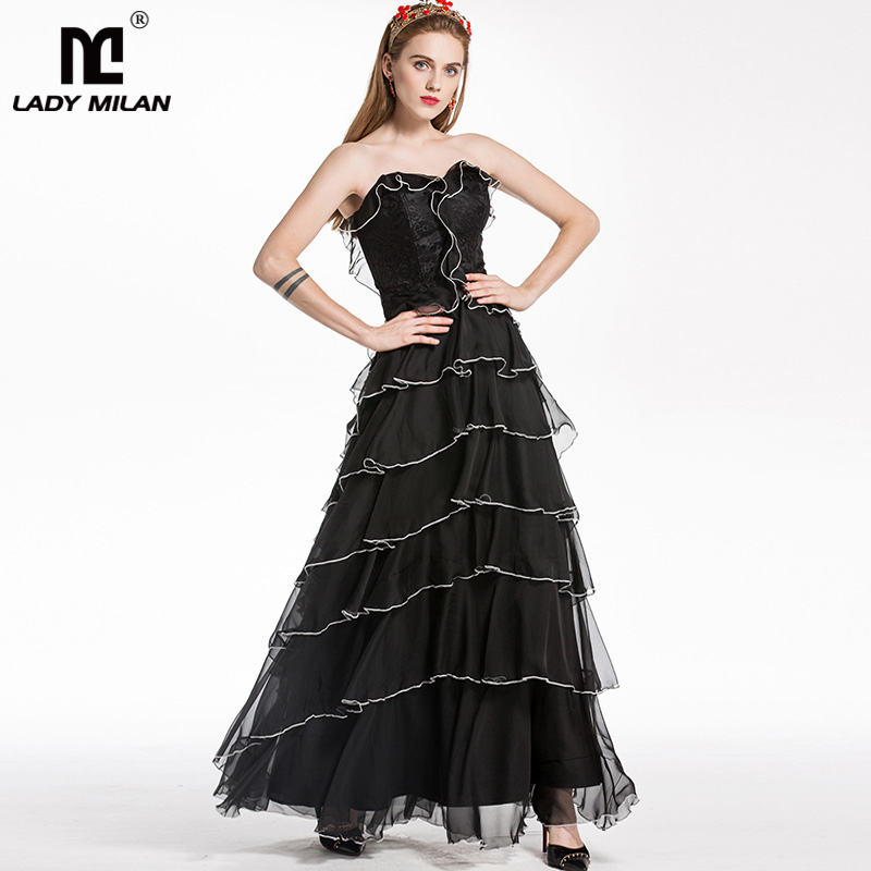 New Arrival 2018 Womens Strapless Sleeveless Embroidery Lace Patchwork Ruffles Elegant Prom Designer Long Runway Dresses