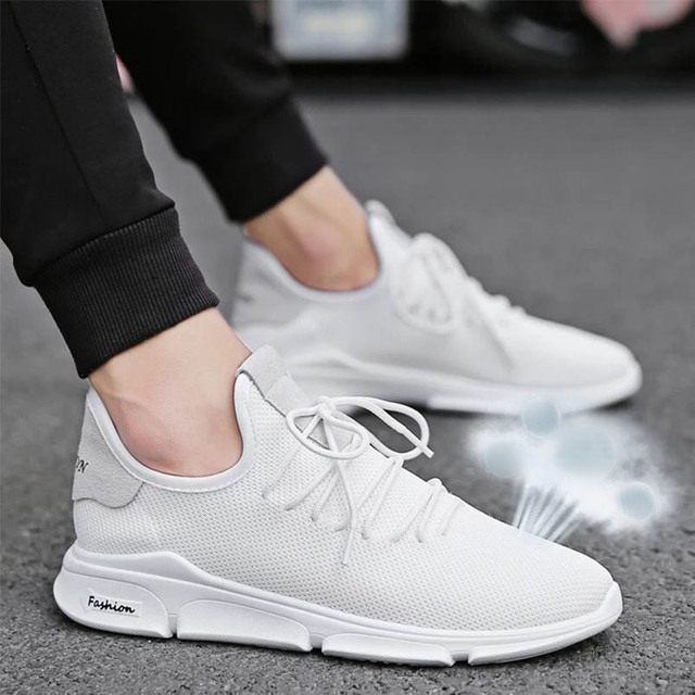 b8e2711ff938f US $12.28 30% OFF|FIDANEI 2018 Summer New Men Breathable White Shoes Male  Casual Sport Mesh Vulcanized Shoes Wild Fashion Lace Up Sneakers -in Men's  ...