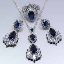 925 Sterling Silver Blue Zircon Austria Crystral Four Piece Women Jewelry Set Ring Size 6/7/8/9/10 Free Gift Z130