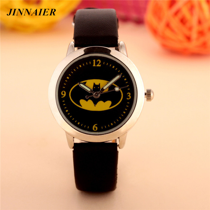 Free Shipping 10 Pcs/lot Mixed Wholesales 3D Cartoon Batman For Boys Gifts Clock Time Watch Quartz Small Leather Wristwatches