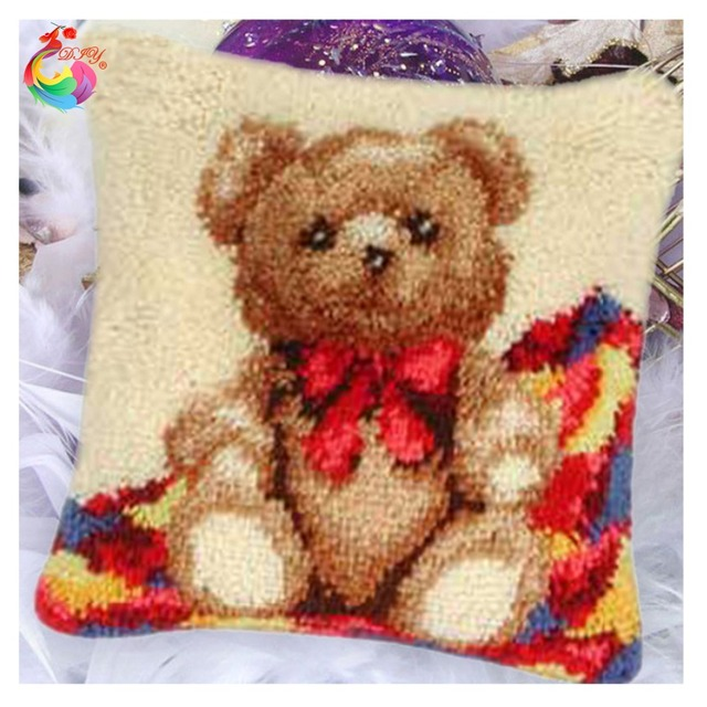 Us 17 92 49 Off Hot Latch Hook Cushion Kits Gift Diy Needlework Crocheting Throw Pillow Unfinished Yarn Embroidery Set Pillowcase Teddy Bear 001 In
