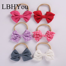 6pcs/lot Linen Bows Nylon Headbands,One Size Girls Bowknot Headwraps Soft Head Wraps,Baby Cotton Hair Accessories