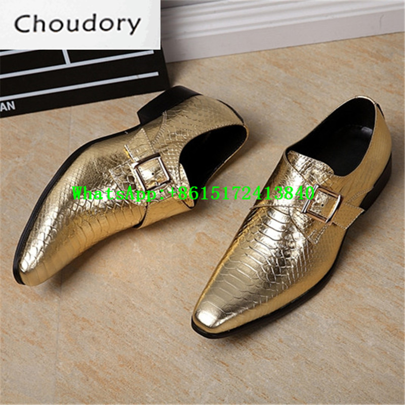 Choudory New Spring Autumn Breathable Hasp Mens Loafers Leather Fluorescent Light Pointed Toe Med Heels Golden Mens Shoes Casual
