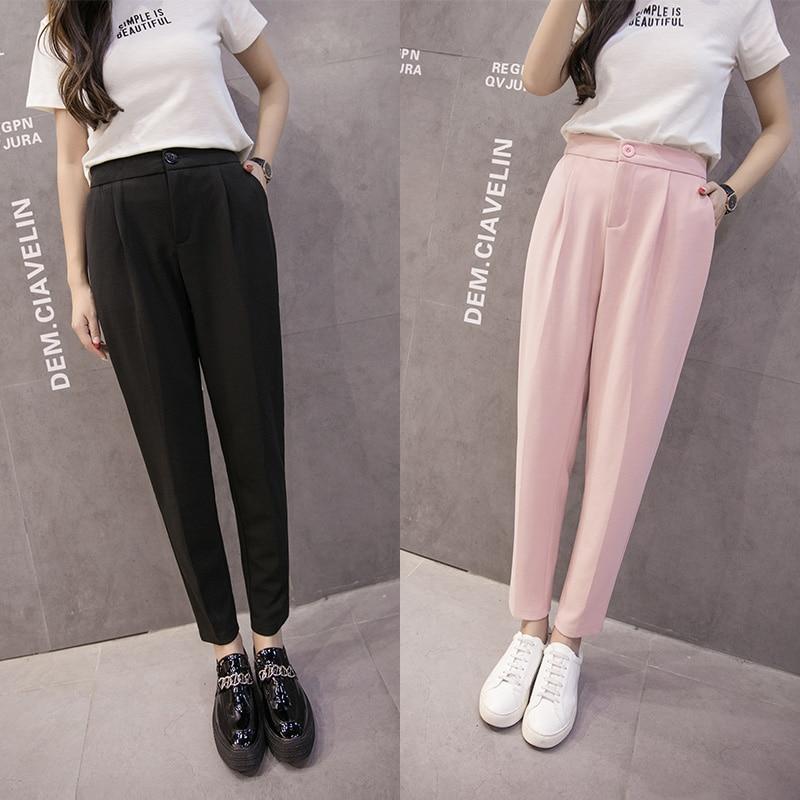 2018 Summer Women's Chiffon Ankle-Length Pants Female Loose Office Lady Autumn Harem Pants Korea Style Solid Casual High Waist