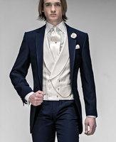 2017 последние пальто брюки Дизайн итальянский темно сине белые мужской костюм пользовательские классический приталенный смокинг 3 предмета