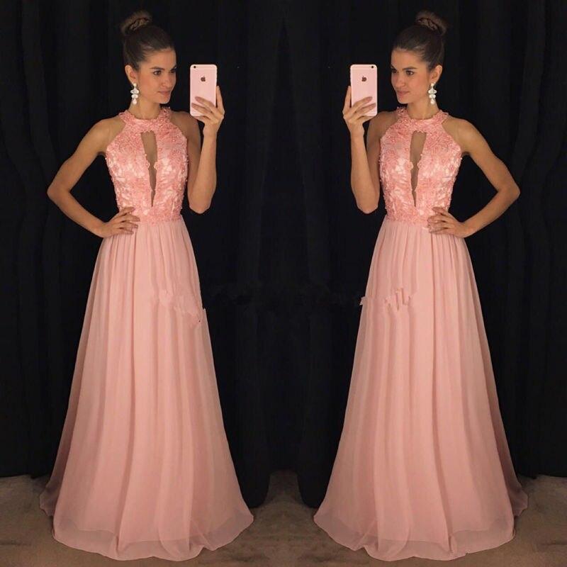 Pink Halter Evening gown A line long Chiffon Prom dresses Cut out Floor length vestidos de fiesta Women formal party dress