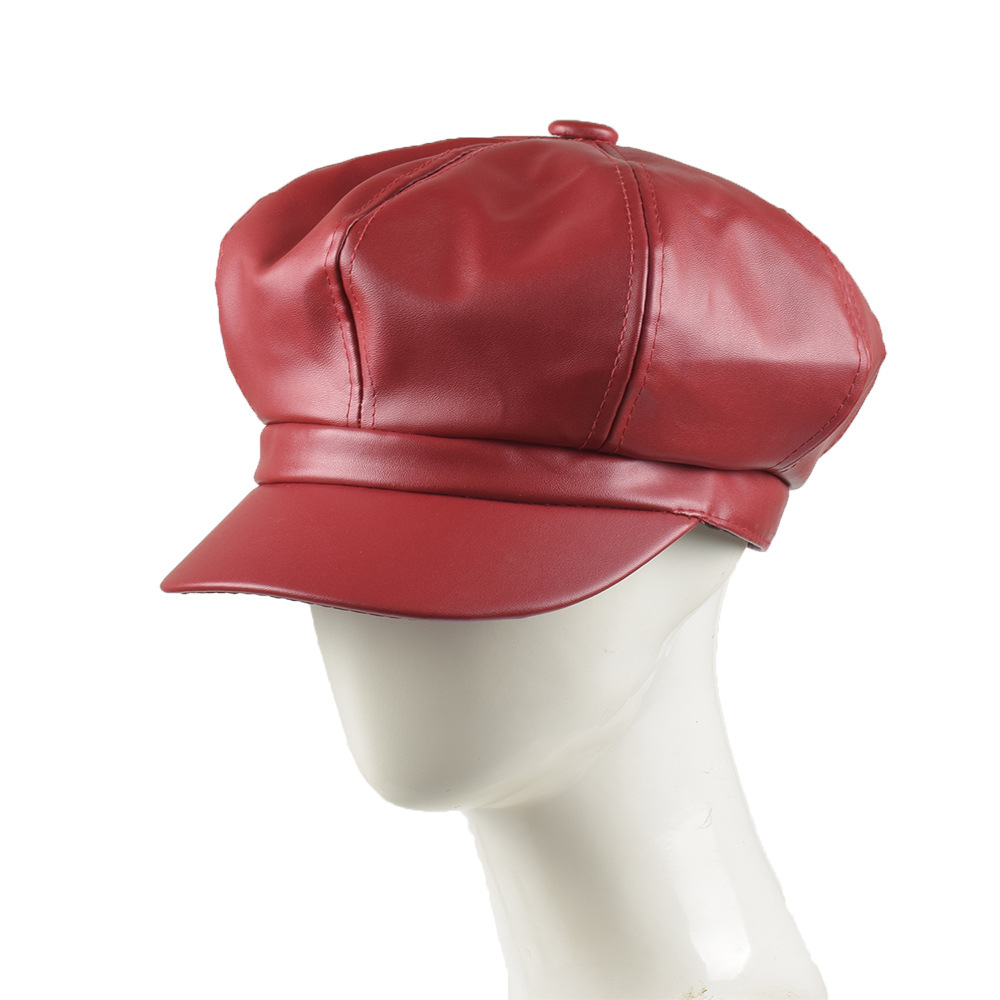 Vintage Women Solid Color PU Leather Octagonal Cap Autumn Winter Caps Male Female Casual Hats Clothing Accessories Trendy Unisex(China)