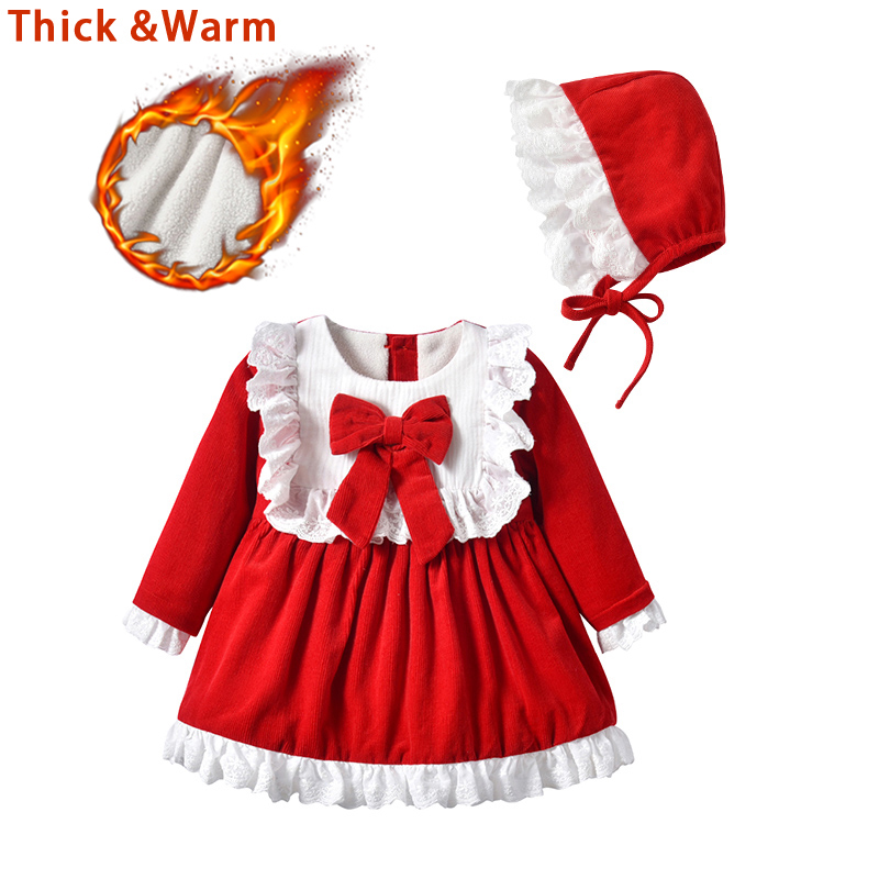 baby girls red lace dresses for New Year costumes Christmas dress for girls winter thick warm princess dresses party birthday girls christmas xmas dresses kids girls princess party carnival tutu dress baby girl red new year fancy party dress up outfits