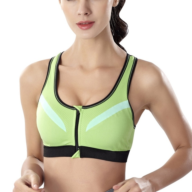 0201324ffed Women Fitness Bra With Inner Pad Patwork Workout Tops Push Up Zipper  Stretch Adjustable Strap Tank