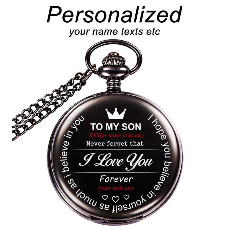 To My Son Personalized Custom Engraved Pocket Fob Watches Free Lettering Retro Black Smooth Pocket Watch Costomized LOGO Gift