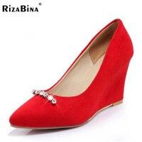 RizaBina Größe 33-43 Büro Dame Hohe Keile Schuhe Spitz Perlen Wedges Pumps Party Club Hochzeit Schuhe Weiche Sexy Schuhe