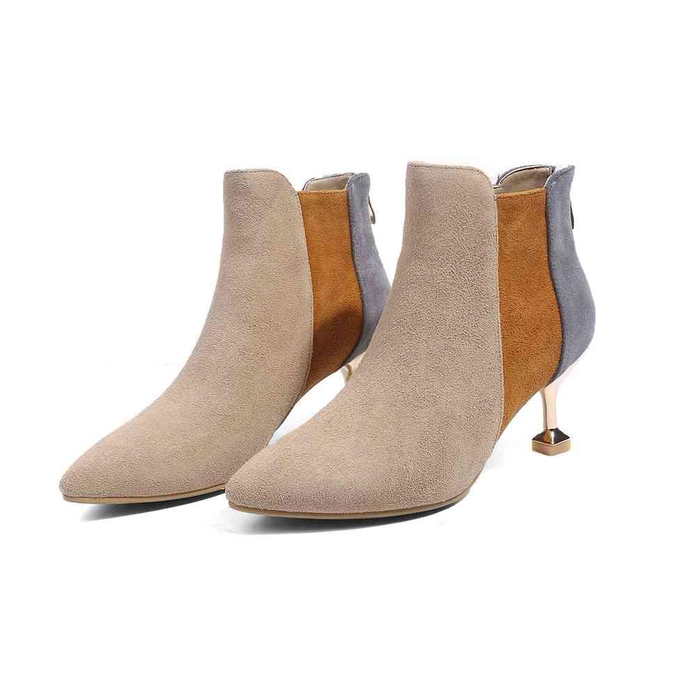 con grigio stivali punta L92 European misti caldi Strange alti albicocca  Lenkisen tenere vera scarpe nero zip pelle donna in colori Design a Moda  tacchi ... d822922e27a