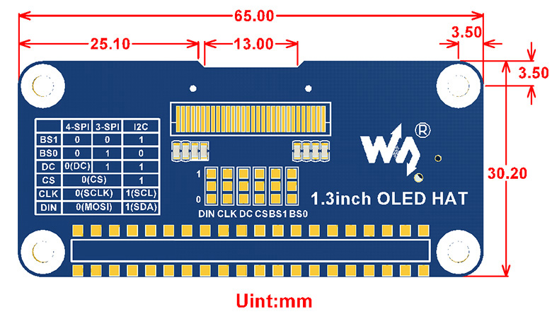 Купить с кэшбэком Waveshare 1.3inch OLED display HAT for Raspberry Pi 2B/3B/3B+/Zero/Zero W,128x64 pixels,SPI,I2C interface,embedded controller