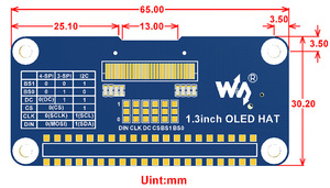 Waveshare 1,3-дюймовый oled-дисплей для Raspberry Pi 2B/3B/3B +/Zero W,128x64 пикселей, SPI,I2C интерфейс, встроенный контроллер
