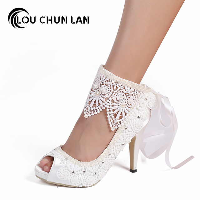 Women Shoes Pumps Wedding Shoes Satin Lace Pearl Bridal Shoes Waterproof  High-Heeled Bow Knot Ankle Wristband Female 41 42 43 0c2de8ebc3aa