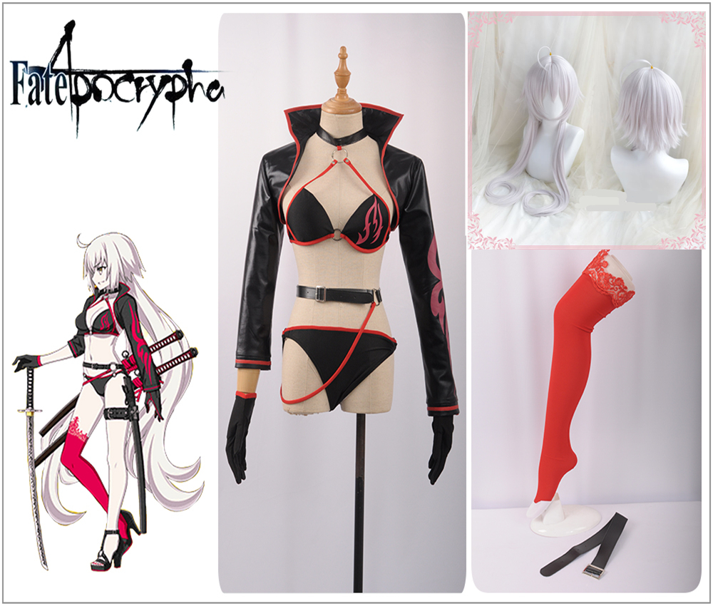 Fate/Grand Orde Avenger Jeanne d'Arc Alter Cosplay Costume Custom Sexy Bathing Suit Swimwear Jacket Stockings Socks Pigtail Wig