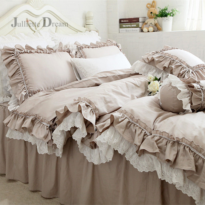 Top Luxury European Khaki bedding set ruffle lace duvet cover bedding elegant bedspread bed sheet for