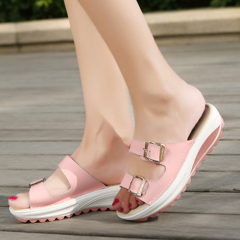New Beach Genuine Leather Women Slippers Wedges Slip-on comfortable summer Sandals shoes Casual sweet Female footwear ST20