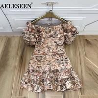 Luxury Pleated Women Summer Dress Fashion 2018 Runway Lantern Flower Cascading Bow Halter Slash Neck Ruffle Print Short Dress