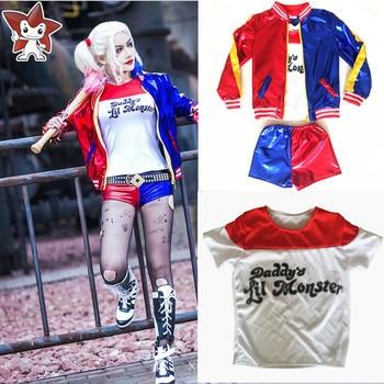 Gadis Anak-anak Suicide Squad Harley Quinn Joker Cosplay Kostum Halloween Hari Anak Hadiah Jaket Kostum
