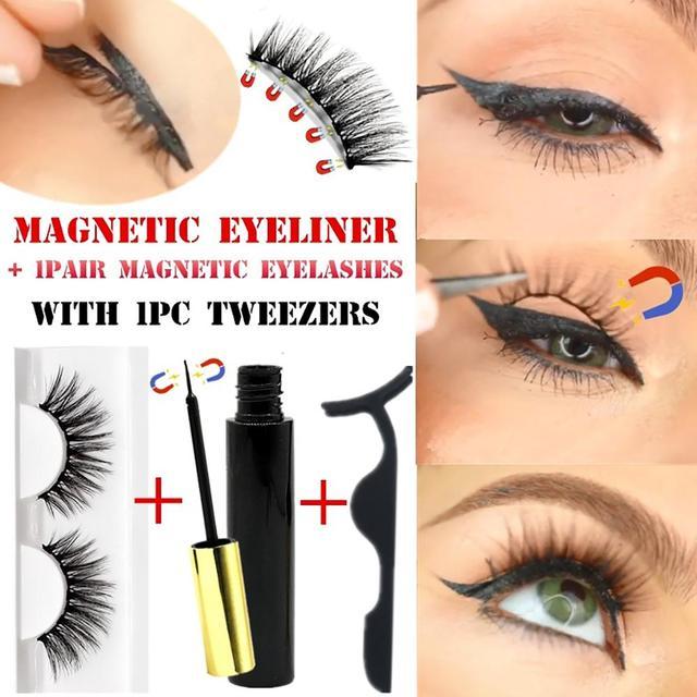 Magnetic Eyelash Magnetic Liquid Eyeliner& Magnetic False Eyelashes & Tweezer Set Waterproof Long Lasting Eyelash Extension
